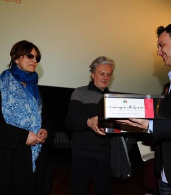 Filippo Santini con Laura Morante